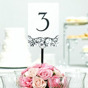 Black & White Flourish Table Numbers for Weddings image