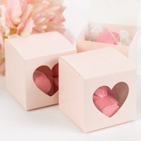 Pink Heart Window Favor Boxes (Set of 25)