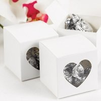 White Heart Window Favor Boxes (Set of 25)