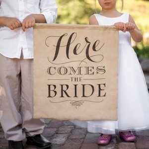 Here Comes the Bride Burlap Sign image