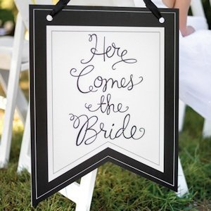 Here Comes the Bride Pennant Sign image