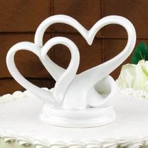 Double Heart Porcelain Wedding Cake Topper image