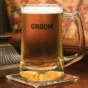Personalized Glass Groom Beer Mug image