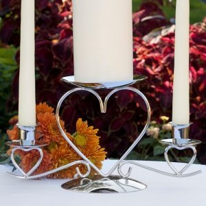 Triple Heart Wedding Unity Candle Stand image