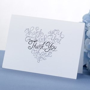 Black & Silver Script Thank You Cards (Set of 50) image