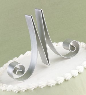 Script Metal Initial Wedding Cake Toppers image