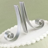 Script Metal Initial Wedding Cake Toppers