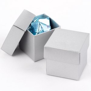 Mix and Match Two Piece Silver Favor Boxes (Set of 25) image