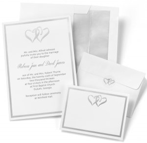 Silver Linked Hearts DIY Wedding Invitation Kit (Set of 50) image