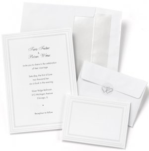 Pearl Border Printable Wedding Invitation Kit (Set of 50) image