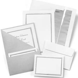 Silver Shimmer Printable Wedding Invitation Kit (Set of 25) image