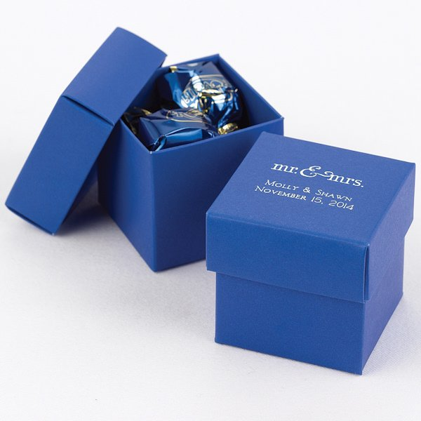 Mix And Match Personalized Royal Blue Favor Box Set Of 25