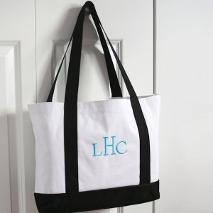 Personalized White & Black Canvas Totes image
