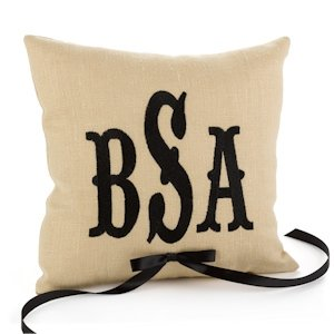 Linen Custom Monogrammed Ring Pillow image