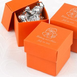 Mix and Match Personalized Orange Favor Boxes (Set of 25) image