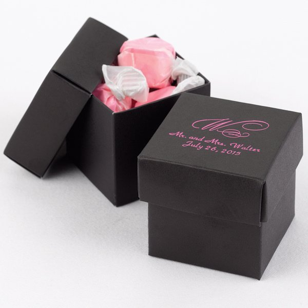 Mix And Match Personalized Black Favor Boxes Set Of 25