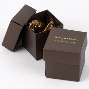 Mix and Match Personalized Mocha Brown Favor Box (Set of 25) image
