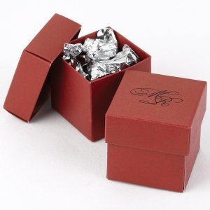 Mix and Match Personalized Claret Red Favor Box (Set of 25) image