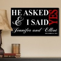 Personalized He Asked Wedding Canvas Print