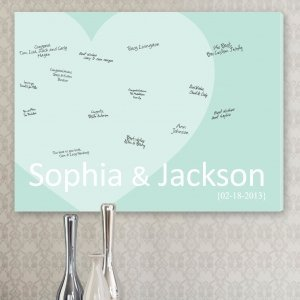 Signature Heart Wedding Guest Book Canvas image