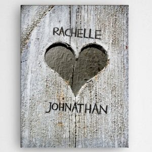 Personalized Hand Carved Heart Canvas image