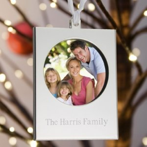 Engraved Silver Frame Christmas Ornament image