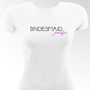 Personalized Signature Fitted Bridesmaid & Bride Shirts image