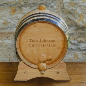 Personalized Mini Oak Wine Barrel with Stand image