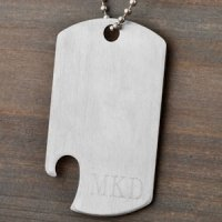 Engraved Dog Tag Bottle Opener Necklace