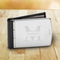 Personalized Brushed Silver RFID Zippo Wallet