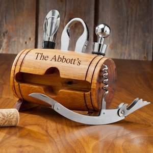 Personalized Wine Barrel Accessory Set image