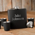 Personalized 6oz Matte Black Flask & Shot Glass Gift Set