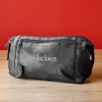 Embroidered Leather Travel Kit for Men