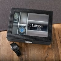 Men's Personalized Watch Box with Sunglasses Holder