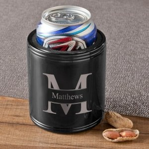 Monogrammed Black Metal Can Cooler image