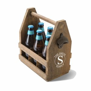 Monogrammed Beer Caddy with Bottle Opener image