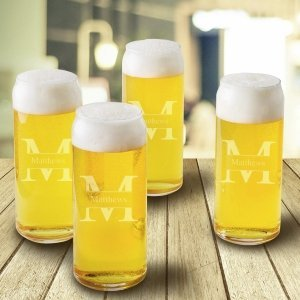 Personalized Tall Boy Beer Glass Set of 4 image