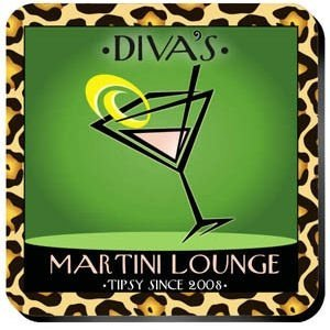 Personalized 'Cosmo-Chic' Martini Lounge Coaster Set image