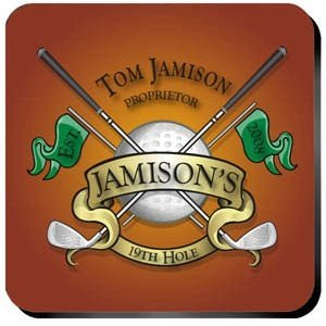 Personalized 19th Hole Golf Coaster Set image