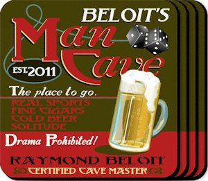 Personalized Man Cave Coaster Set image