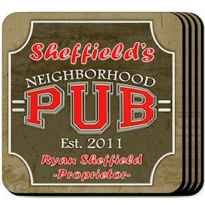 Personalized Neighborhood Pub Coaster Set image