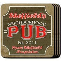 Personalized Neighborhood Pub Coaster Set