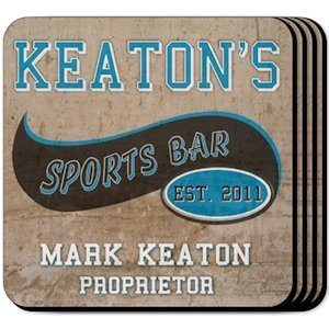 Personalized Sports Bar Coaster Set image