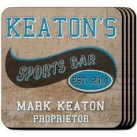 Personalized Sports Bar Coaster Set