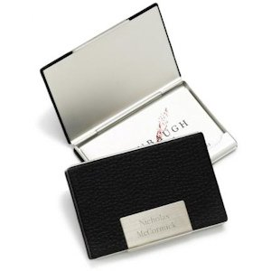 Personalized Leather & Stainless Business Card Case image