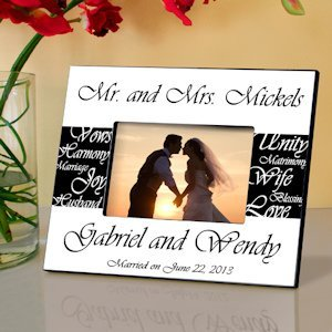 Personalized Mr. & Mrs. Wedding Photo Frame image