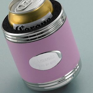 Personalized Pink Leather Koozie image