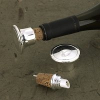 Silver Plated Engraved Wine Stopper and Pourer
