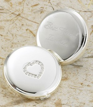 Personalized Silver Plated Sweetheart Compact image