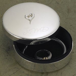 Personalized Silver Plated Jewelry Box with Raised Heart image